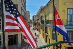 پرچم کوبا و آمریکا