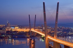 A view of Vladivostok, a Russian city located at the head of the Golden Horn Bay, adjacent to China and North Korea.
