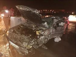 سربازان وظیفه در راه اهواز مصدوم شدند/ آتش گرفتن خودروی پژو پارس