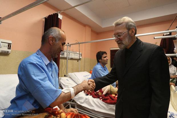Larijani visits people injured in Wed. terrorist attacks