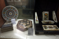 Picture depicts a patchwork of special-processed Iranian handicrafts