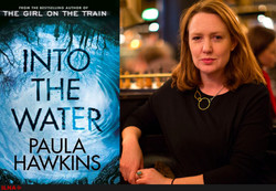 "This combination photo shows Paula Hawkins and the front cover of her second novel ""Into the Water""."