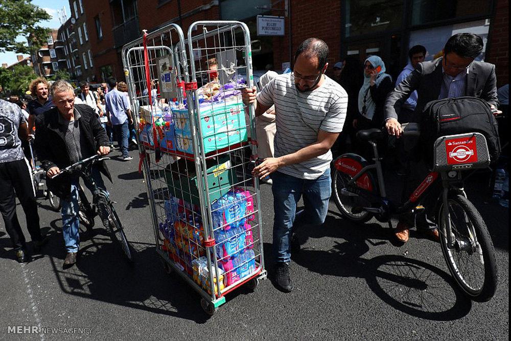 کمک مردم لندن به ساکنان برج گرنفل