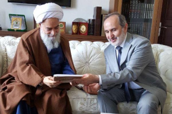 دیداررییس شورای عالی دینی سازمان دیانت ترکیه باآیت الله گلپایگانی
