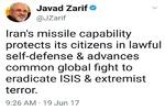 ظریف: توانایی موشکی ایران باعث پیشبرد نبرد جهانی علیه داعش است