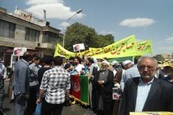 Afganistanlı göçmenler İran'daki Kudüs Günü gösterilerine katıldı