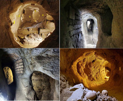 A combination photo shows interlinked tunnels, rooms and corridors of Samen subterranean settlement that after more than a decade of excavations still keeps clues to ancient life in west-central Iran.
