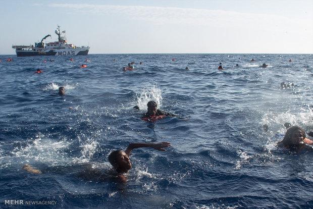 غرق اللاجئين في بحر الابيض المتوسط