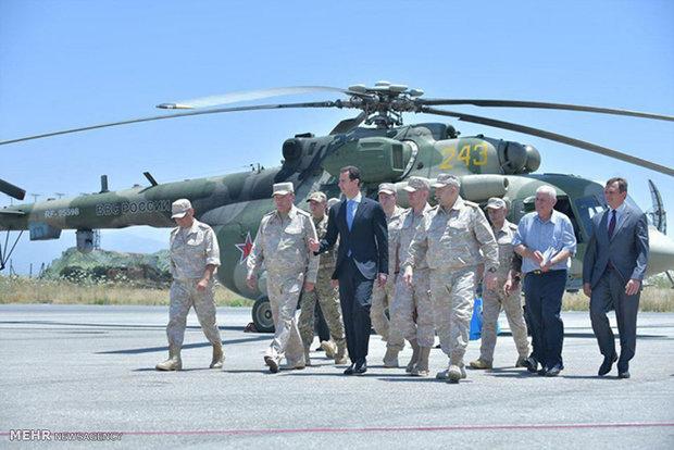 بازدید بشار اسد از پایگاه هوایی روسیه
