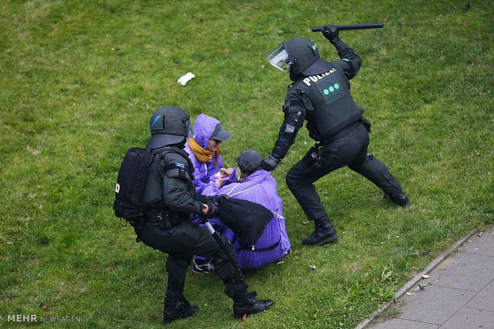 ضرب و شتم معترضان توسط پلیس آلمان