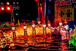 A scene from a water-puppet show in Vietnam