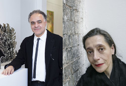 Lebanese sculptor Nadim Karam (L) and French curator Catherine David are seen in a combination photo.