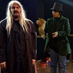 "Meysam Razfar and Shohreh Reayati act in a scene from ""King Lear according to Edmund""."
