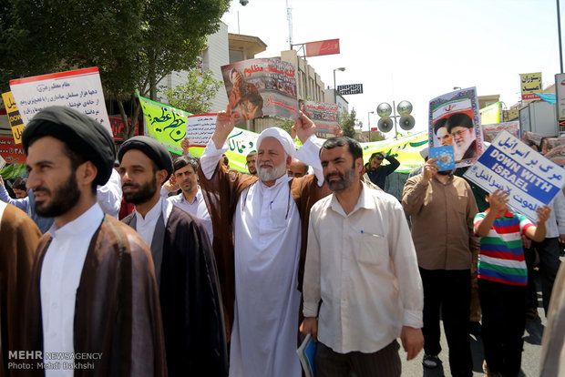 Iranians march in support of Myanmar, Palestine in Qom