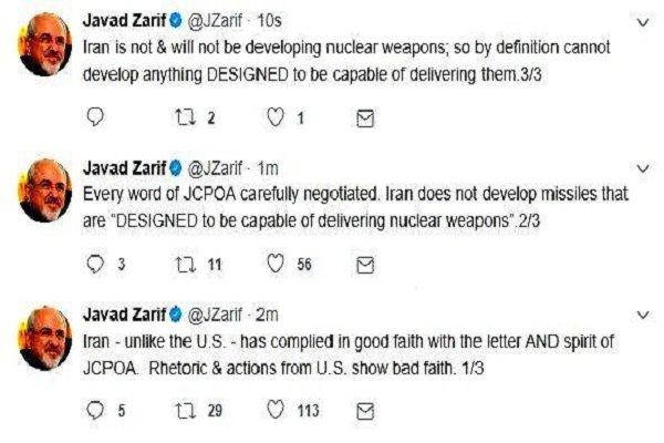 ظريف : تصريحات واجراءات الأميركان يدللان على سوء نواياهم