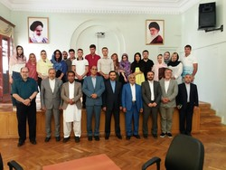 Iranian MPs, diplomats and some Armenian students of the Persian language pose at the Embassy of Iran in Yerevan, Armenia on August 1, 2017.