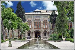 An external view of the UNESCO-inscribed Golestan Palace in downtown Tehran