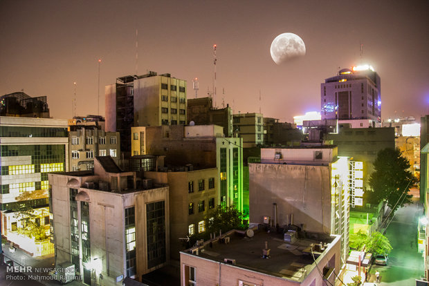 Partial lunar eclipse across Iran