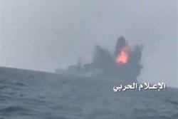 لحظه انهدام کشتی جنگی ائتلاف سعودی در سواحل «المخاء»