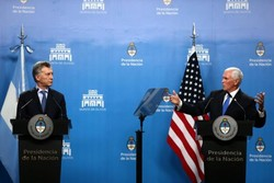 مایک پنس و رئیس جمهور آرژانتین