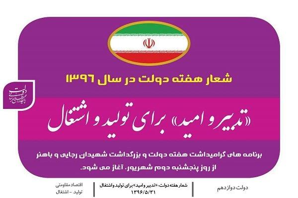 شعار هفته دولت؛ «تدبیر و امید» برای تولید و اشتغال
