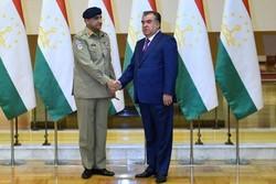 دیدار فرمانده کل ارتش پاکستان با رئیس جمهور تاجیکستان