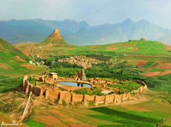 A general view of Takht-e Soleyman, a UNESCO World Heritage site, and its rugged landscape in northwest Iran.