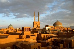 Picture depicts the skyline of Yazd, a UNESCO-registered historical city in central Iran.