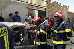 آتش سوزی پراید در ورامین