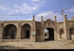 Detail shows exterior façade of the crumbling Aliabad Caravanserai near a village of the same name in Qom province, central Iran, September 8, 2017.