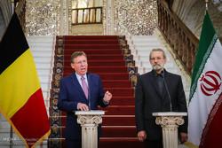 نشست خبری روسای مجلس ایران و بلژیک