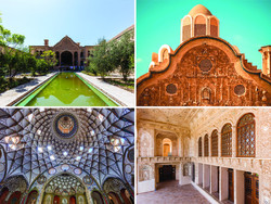 A photo collection depicts parts of the interior and façade of Boroujerdi-ha House, a 19th-century merchant mansion in Kashan, central Iran.