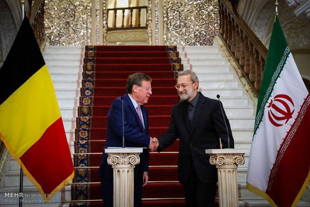 İran ve Belçika meclis başkanlarının basın toplantısı