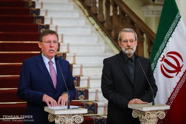 Larijani, Belgian counterpart hold press conference in Tehran