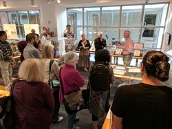 American calligrapher Rick Paulus (2nd R) speaks at the Calligraphies in Conversation exhibition at the San Francisco Public Library on September 17, 2017. (Mehr/Amirbehnam Tehranifar)