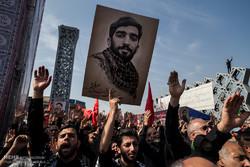 مراسم تشییع شهید محسن حججی در میدان امام حسین (ع) .