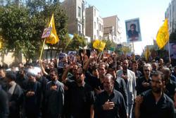 پیکر شهید مدافع حرم «سید عتیق اله موسوی» در باقرشهر تشییع شد