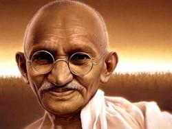 A portrait of Mahatma Gandhi