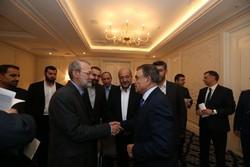 Larijani in meeting with Armenian Parliament Speaker Ara Babloyan in Saint Petersburg