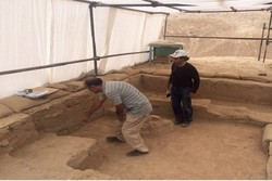 Experts are seen at an excavation site at Tappeh Sofalin, northcentral Iran.