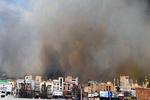 دود گسترده ناشی از آتش سوزی انبار کالا در جنوب تهران