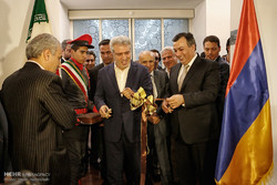 "Armenia's Minister of Culture Armen Amirian (R) and Iran's Cultural Heritage, Tourism and Handicrafts Organization Director Ali-Asghar Mounesan cut the ribbon on ""Armenia and Iran: Memory of The Land"