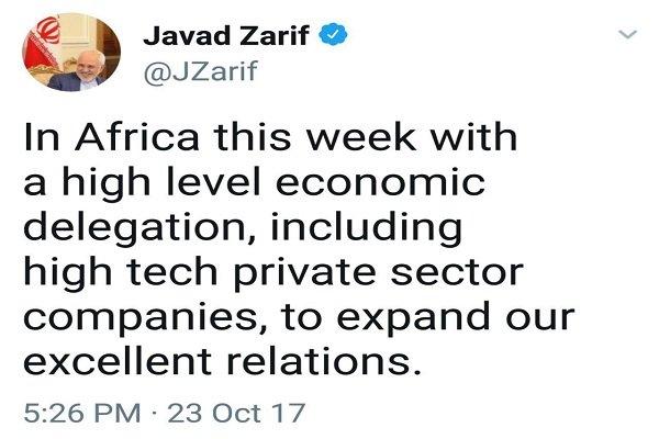 ظريف: وفد رفيع المستوى من القطاع الخاص الإيراني يتواجد في أفريقيا