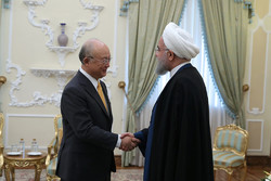 Amano meeting with Iranian President Hassan Rouhani in Tehran on Sunday