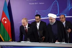 Rouhani, Putin, Aliyev press conference