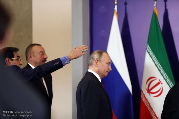 Rouhani, Putin, Aliyev press conference in Tehran