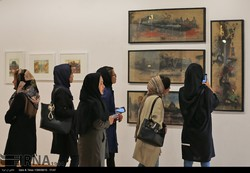 Art aficionados visit the Nimrouz Exhibition, a showcase of a group of Afghan artists, at Tehran's Niavaran Cultural Center on November 6, 2017. (IRNA/Amir-Reza Qassab-Barzi)