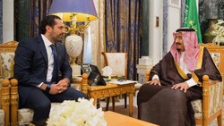 Saudi Arabia's King Salman meets outgoing Lebanese prime minister Saad Hariri in Riyadh on November 6