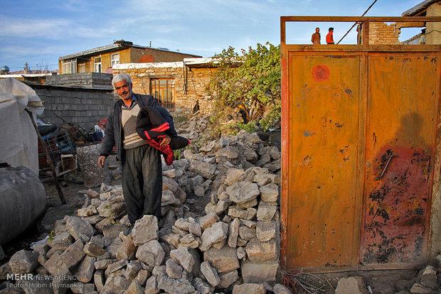 خسارات زلزله در روستای خانم آباد روانسر