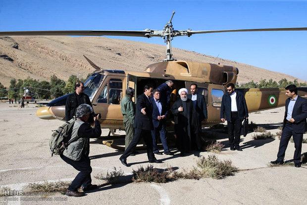 جولة الرئيس روحاني على المناطق المنكوبة في كرمانشاه